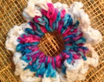 Multi-colored with White Edge Scrunchie