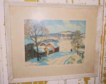Vintage Guy C. Wiggins Framed Print New England Winter Scene, Impressionistic Style, American Artist, Snow Scene