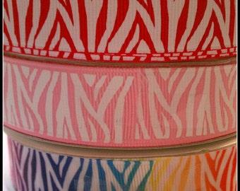 "Choice of 7/8"" zebra print grosgrain ribbon 5 yards red, pink, rainbow, black, aqua"