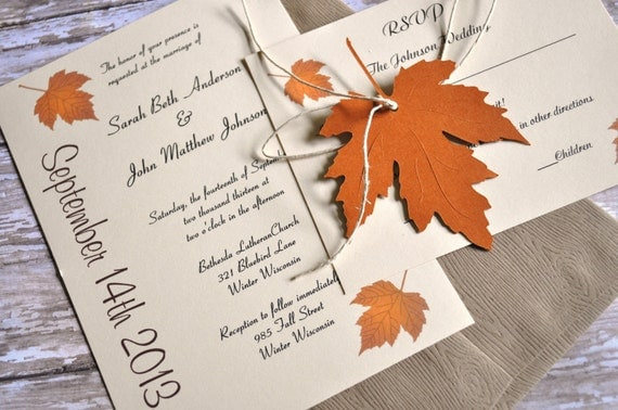 Fall Wedding Invitations Autumn Wedding Invitations leaf