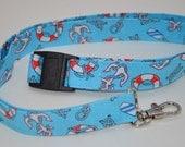 Nautical, anchor, life preserver Lanyard, badge reel or stethoscope clip