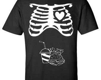 Halloween Rib Cage and Fast Food Combo Father To Be Dad T-Shirt Matching Maternity Skeleton Couple Costume Set Family - S, M, L, XL and 2XL
