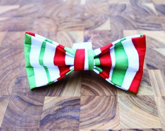 Whimsical Stripe Christmas Dog Bow Tie For Any size Dog Collar