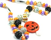 HALLOWEEN Necklace, Orange Halloween Jack O'Lantern, Halloween Black, Orange, Purple Necklace, Halloween Jack O Lantern FUN Acrylic Beads