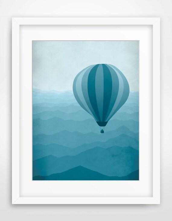 hot air balloon large wall art kids poster mountain art. Black Bedroom Furniture Sets. Home Design Ideas