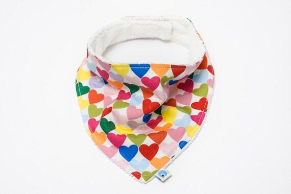 Baby Neckerchief Dribble Bib - Alexander Henry Heart to Heart - Bright Coloured Hearts