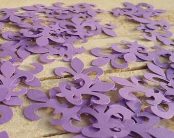 100 Purple Fleur Di Lis Diecut Confetti Paper Punches Ready to Ship