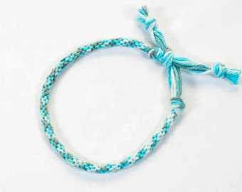 EXCLUSIVE: Hand Dyed Cotton Kumihimo Bracelet Baby Blue Fiber Jewelry