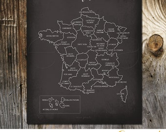 Taste of France French Culinary Map Art Print Kitchen Wall decoration poster France map gastronomy map chalkboard French cuisine