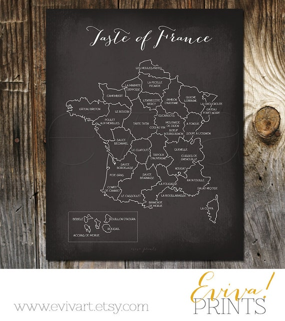 Taste of france french culinary map art print kitchen wall for Decoration culinaire
