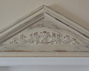 Primitive Pediment, Architectural Pediment,Door Pediment,Colonial Pediment,Shabby Door Topper,Ornamental Door Topper,French Country Pediment