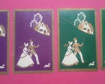 4 vintage playing cards purple/green couple (E2-217-1)
