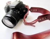 Classic red  Leather   Camera Strap