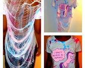 Oversized Unicorn Tie Dye Shredded Crop Shirt