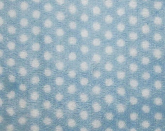 Baby Blue / White Swiss Dot Minky cuddle 58 Inch Wide Fabric By The Yard.