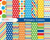 Digital Paper - Primary Colors  - Instant Download