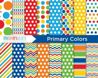 Digital Paper - Primary Colors, birthday paper, red blue yellow, myclipartstore, back to school, orange green, polka dot paper