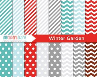 Digital Paper - Winter Garden - Instant Download
