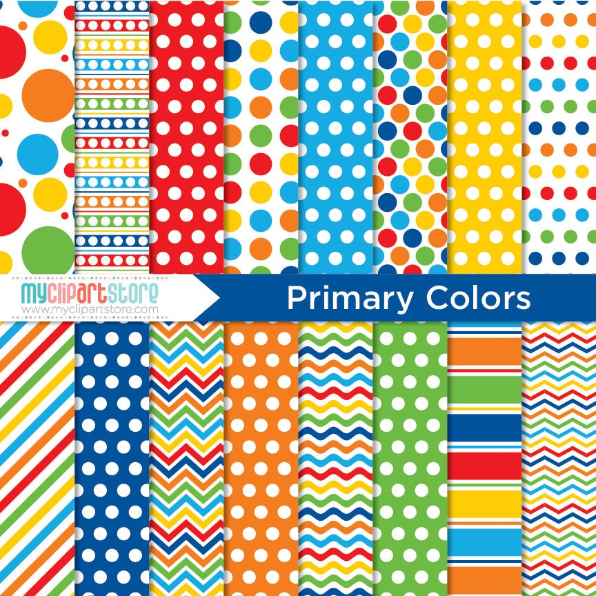 digital paper primary colors birthday paper red blue