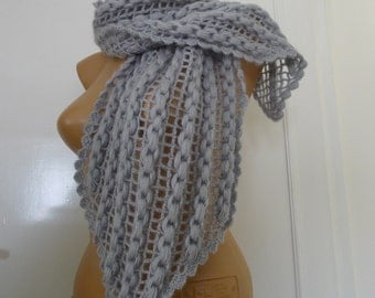 Hand Made Grey Crocheted Scarf, Neck Warmer,Shoulder Warmer