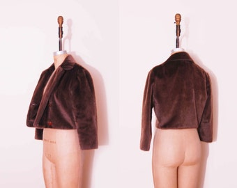 Vintage 60s brown fur coat / 1960s chocolate Bonwit Teller cropped coat.