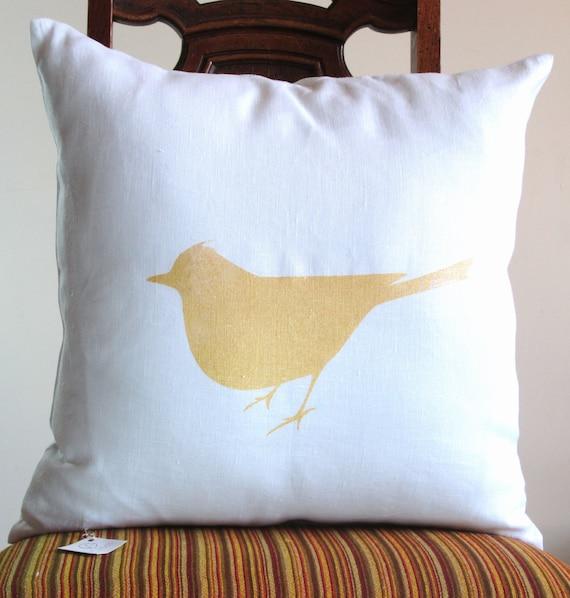 GOLD BIRD PILLOW throw 18 x 18 modern White Linen Screen Printing Home Decorative one