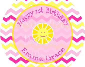 Sunshine chevron plates stickers for birthdays or baby showers