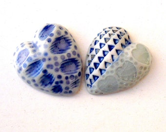 Blue And White Porcelain Hearts, Romantic Gift, Gift For Her