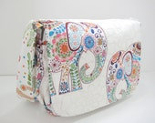 Elephant Diaper Bag, Elephant Messenger Bag, Cross Body Bag in Colorful Elephant Print