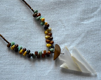 OOAK Rustic Stone Arrow Head Drop Necklace with Czech Glass, Wood, and Bronze Details