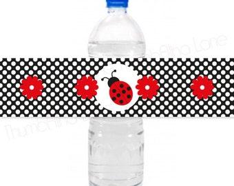 Ladybug Printable Water Bottle Labels, Instant Download  - Digital File, Printable, DIY