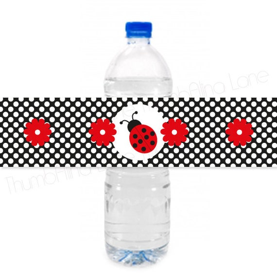 Ladybug printable water bottle labels instant download - Ladybug watering can ...