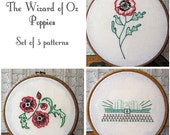 Poppies Embroidery Pattern Set - The Wizard of Oz - PDF Instant Download - Includes Stitch Guide