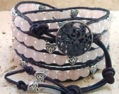 Rose Quartz & Silver Hearts Beaded Leather 4-Wrap Bracelet