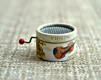 Hand Cranked Music Box Violin. Personalized with the song you choose from the list.