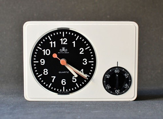 Sale vintage wall clock west german white meister by for Western wall clocks for sale