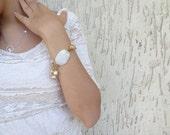 Wedding Bracelet -White Silk, gold-plated Bracelet -White mother of pearl bracelet