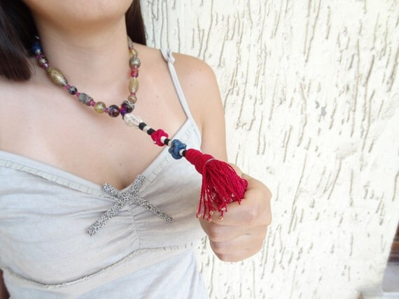 Afghan Fuchsia Tassel Necklace - Handmade Glass Bead Necklace - Rosary Vintage  Necklace-Authentic, Exotic Necklace