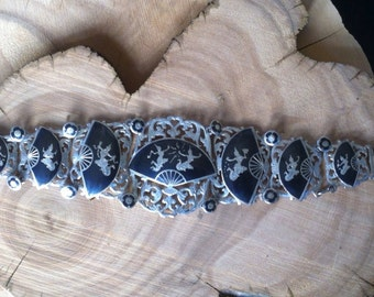 FANtastic Siam Nielloware Vintage Sterling Bracelet : Cutouts and Fan Mekkala Amazing Quality