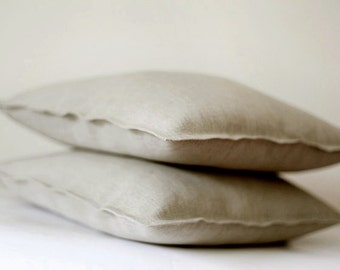 2 Natural Linen pillow covers grey - decorative covers 0019