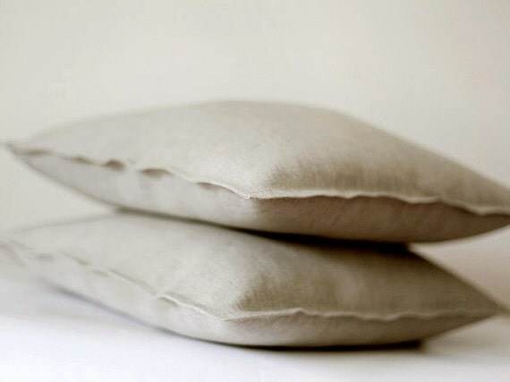Etsy Throw Pillow Sets : 2 Natural Linen pillow covers grey decorative by pillowlink