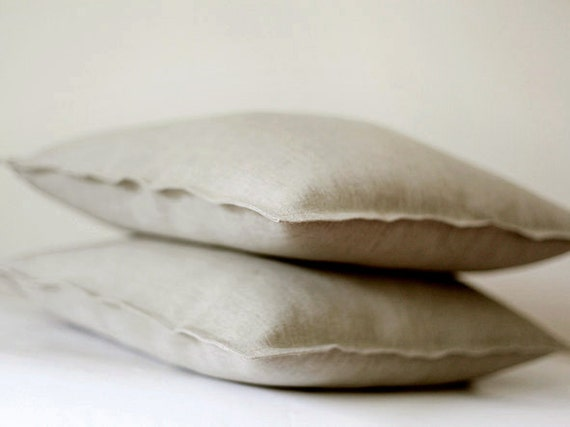 Decorative Linen Pillow Covers : 2 Natural Linen pillow covers grey decorative covers 0019