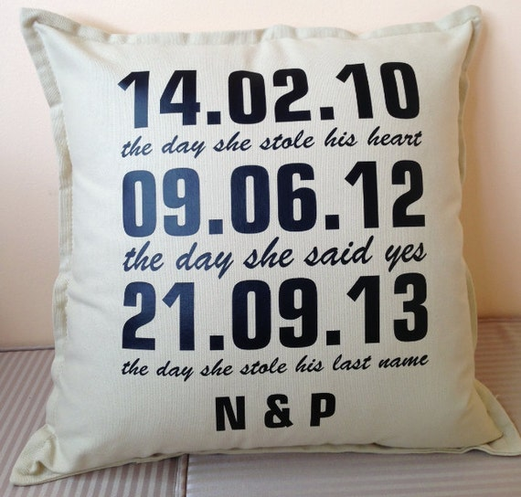 Gorgeous Personalised 'special Date' Cursive Pillows