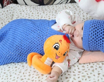 Crochet Baby Cacoon and Hat Blue- Handmade