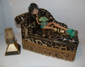 Furniture for Monster High Dolls Handmade Chaise Lounge Bed for Cleo DeNile with Bolster Pillow Pyramid Table and Working Lamp
