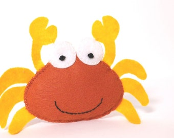 Felt Toy Plushie Hand sewing Pattern PDF. Complete instructions to make Hermit the Crab. Instant download.