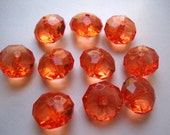 10 Orange Spice Faceted Abacus Beads, 23mm, Translucent Rondell, Chunky Bead, Bubblegum Bead, Acrylic Bead, Plastic Bead, Necklace Bead