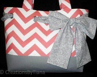 Chevron Tote - Bag - Purse - Gray - Coral Chevron - Handmade - Shoulder Bag