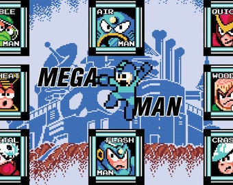 Video Game Art - Mega Man 2 - Digital Art Print - Nintendo Tribute