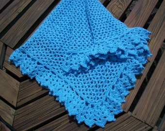 Baby Boy/Child  Blanket/Afghan  Hand Crocheted Pastel Blue Yarn Lacy Border Oversize 43 Inches Square READY TO SHIP